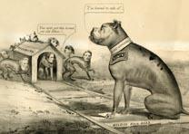 """The Old Bull Dog on the Right Track,"" Currier and Ives, New York, 1864. (Gilder Lehrman Collection)"