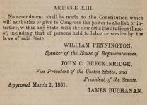 Proposed thirteenth amendment to protect slavery sent to Maryland for approval, April 30, 1861. (Gilder Lehrman Collection)