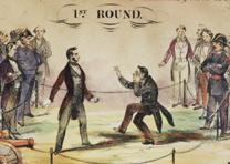 """Champion Prize Envelope – Lincoln & Davis in 5 Rounds. 1st Round,"" J. H. Tingley, New York, NY, 1861 (Gilder Lehrman Collection)"