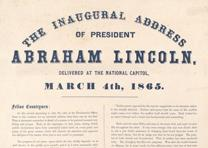 Detail of a broadside printing of Abraham Lincoln's Second Inaugural Address, March 4, 1865. (Gilder Lehrman Collection)