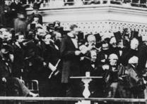 President Lincoln delivering his inaugural address on the east portico of the U.S. Capitol, March 4, 1865.